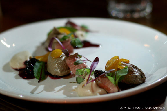 Duck, Duck Mousse (duck liver mousse, tea smoked duck breast, kumquat ...