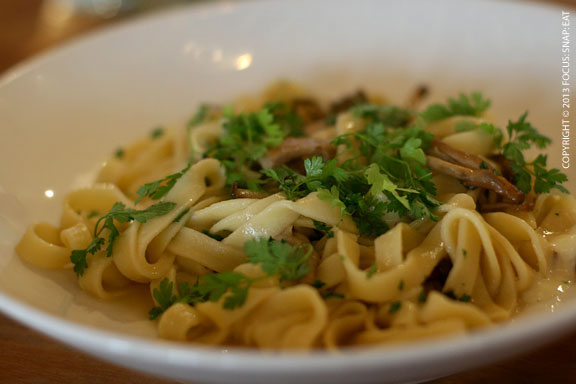 Tagliatelle with wild mushrooms ($13)