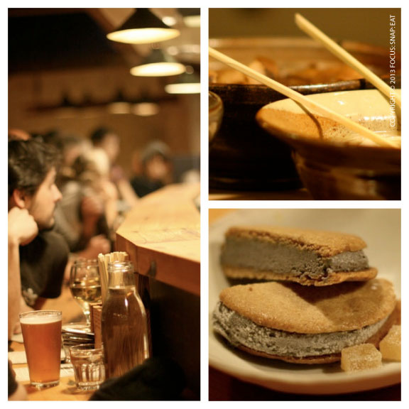 The long counter offers up a front row seat to the ramen making; the black sesame ice cream sandwich ($5) has a subtle but distinctive black sesame flavor.