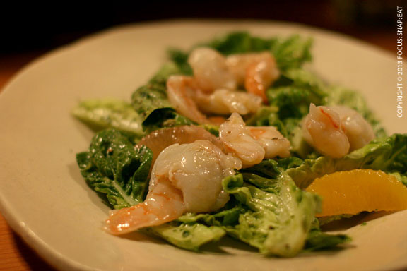Little Gems Salad with Poached Shrimp ($12) with green goddess-avocado dressing