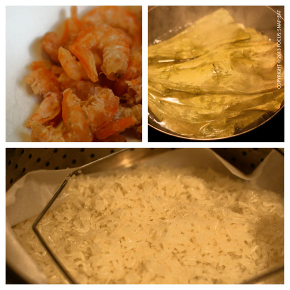 Lots of prepping is involved, including soaking dried shrimp, boiling lotus leaves, and steaming the sticky rice