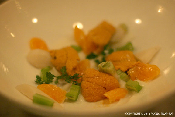 Uni with Satsuma Mandarin, turnip and celery ($15)