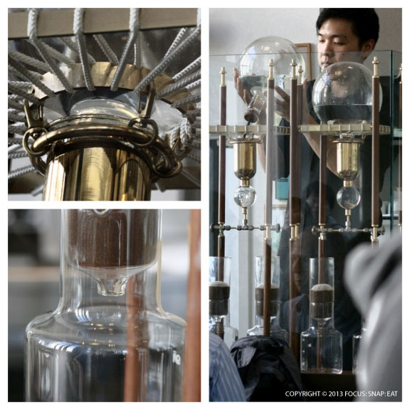 The cafe features several unique and expensive contraptions to make its specialty coffee