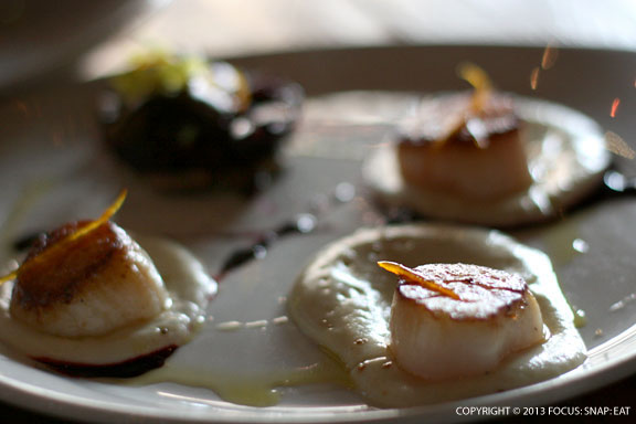 Seared sea scallops ($17) sat on cauliflower puree with a verjus-beet reduction and side beet salad.