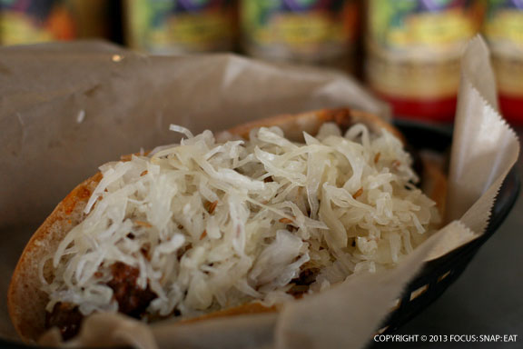 With two free toppings, I added sauerkraut (my favorite) and beef chili to create a slim down version of a chili dog with a beer sausage somewhere underneath it all