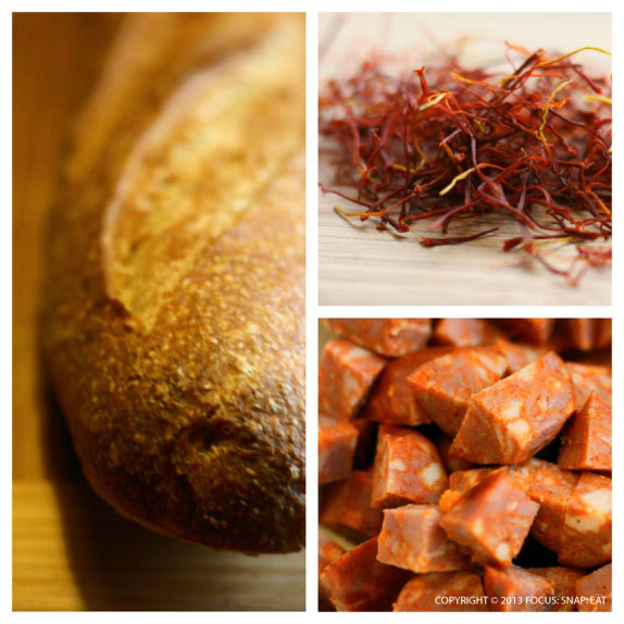 Some of the main ingredients to this dinner: wheat baguette, saffron threads, and Spanish chorizo
