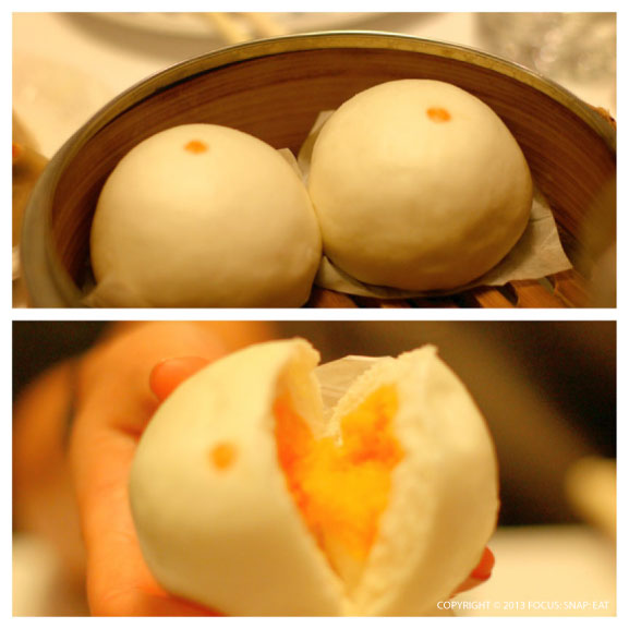 Steamed egg custard buns are my favorite. But I typically order the baked ones. A sign of the higher price, Yank Sing only serves up two in a basket instead of three.
