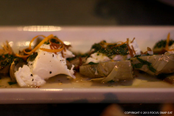 Braised Baby Artichokes with Burrata, Crispy Shallots and Mint Pesto ($14)