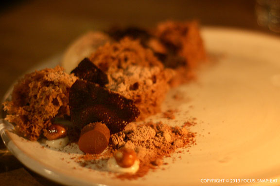 I'm big on chocolate right now so loved Voltaggio's dessert of chocolate, cajeta, spiced tofu, and nutella sponge cake ($11). Looking like a moonscape, the different textures were interesting to eat