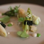 Lettuce with asparagus, clams, and caviar was a perfect spring dish