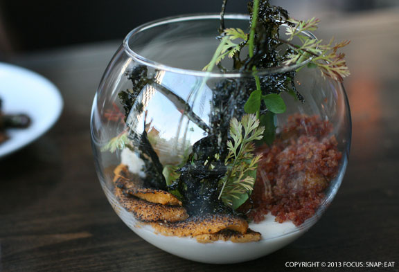 Santa Barbara uni ($18) is creatively presented in a fish bowl with finely chopped cauliflower, Chinese sausage and what seemed like a bed of aioli or crème fraiche.