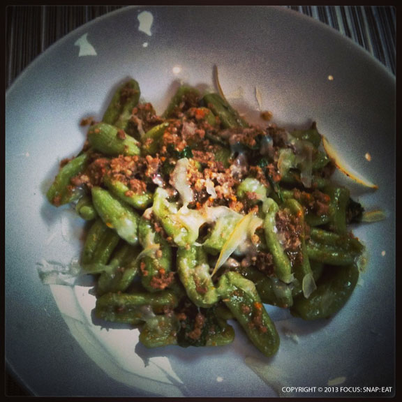 This is a large portion ($21) of the nettle cavatelli with pork heart sugo with fava leaves and smoked caciocavallo