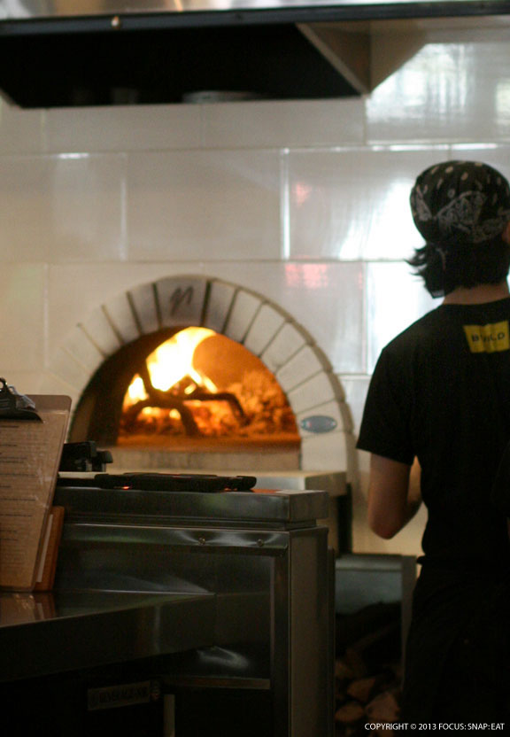 I never had to wait very long for the thin-crust pizzas to be cooked in the wood-fired oven.