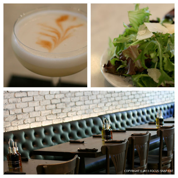 The bar opens early for happy hour, and I tried a pisco sour (with apricot liqueur) and a simple side salad.