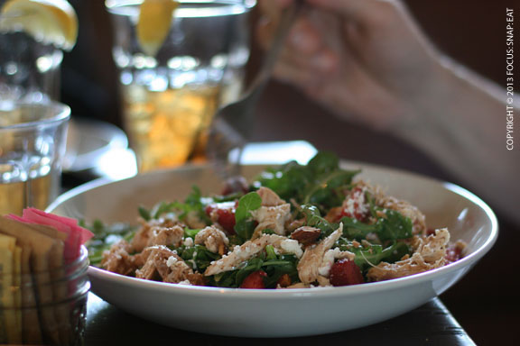 A filling salad of arugula with strawberries, Redwood Hill goat's milk feta, toasted almonds, and citrus vinaigrette ($11). My friend Brandon topped the salad with shredded chicken for an additional $7.