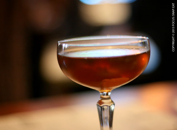 Man About Town ($10) made with Buffalo Trace bourbon, Carpano antica, and Gran Classico