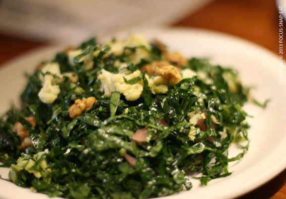 Delicious kale salad ($10) with Brussels sprouts, pickled onions and cheddar cheese