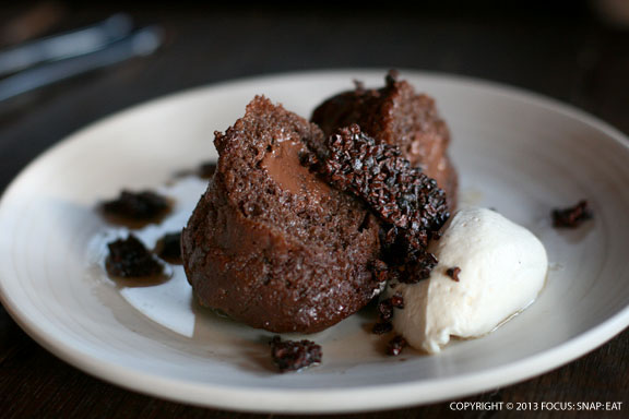 The chocolate cake budino with rum sauce