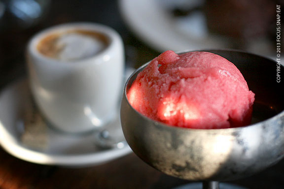 I kept my dessert simple with a scoop of strawberry elderflower sorbetto and a macchiato made with Flying Goat coffee.