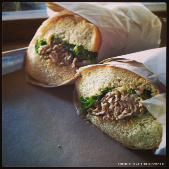 A newer item is the porchetta sandwich ($11), which has great flavor in the tender meat with shaved fennel and a mandarin orange aioli, but they could get a better roll, ($11.