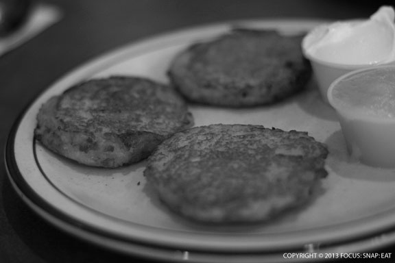 Potato pancakes (three for $7.50), basically latkes