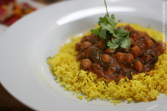 Garam masala chickpea curry ($12) doesn't hold back on the spicy heat