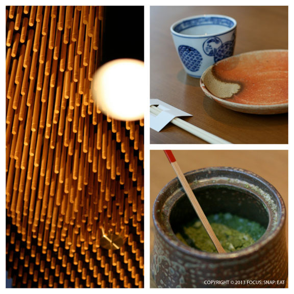 Tsujita is a contemporary space with beautiful ceramic dinnerware. (The bottom shot is green tea salt)