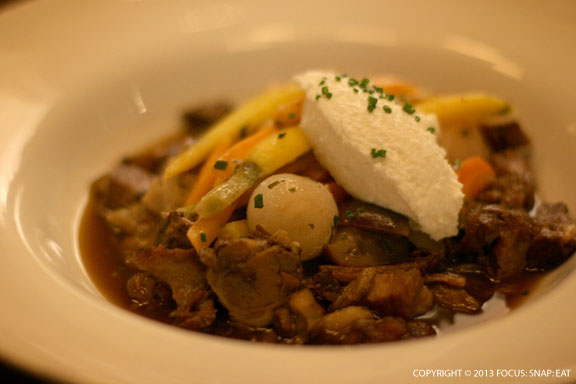 Special oxtail stew was perfectly cooked with flavorful jus, then served with a scoop of ricotta.