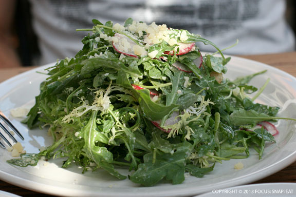 Arugula Salad ($10) with frisee, radish, croutons, grana, and anchovy lemon vinaigrette