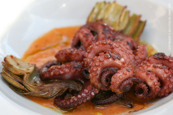 Baby Octopus ($14) with charred tomato vinaigrette, chili and artichoke