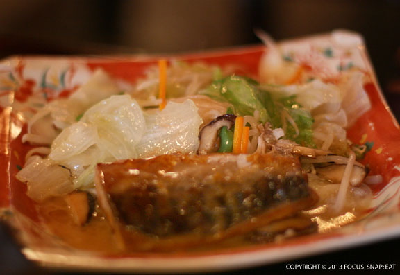 Salt-grilled butterfish ($8.50) was simple and not that exciting, but we got a lot of vegetables cooked on the side