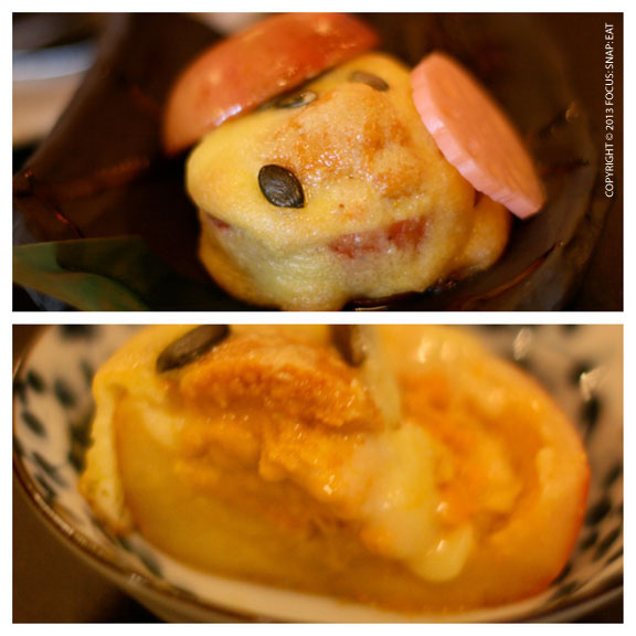 Golden yolk grilled uni (sea urchin) served inside a cooked apple, $12. It looked cute coming to the table (top) and the inside was creamy uni with warm cooked apple (bottom)