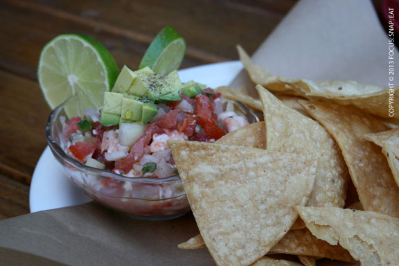 Seafood ceviche with tortilla chips ($8)