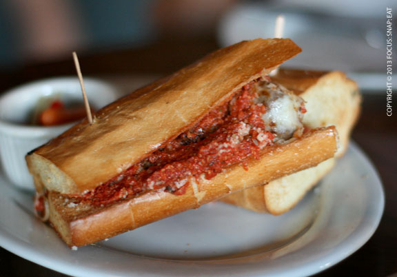 Meatball Sub ($11) served on French roll with mozzarella, marinara and parmesan.