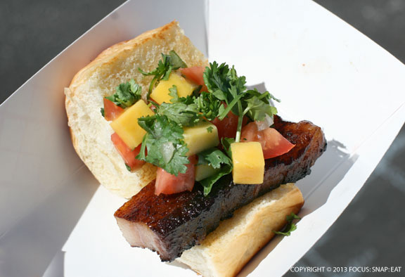 This pork belly slider was served with mango salsa. I was disappointed with the slide of pork belly, which was tough with a large layer of fat. (Even the fat was rubbery.)