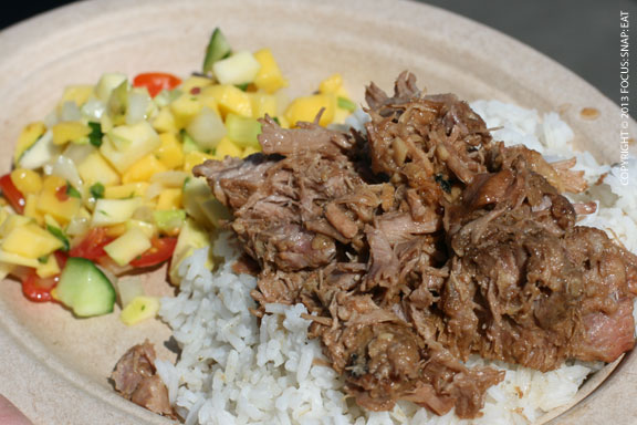 This is a small order of pork adobo with mango salad from Soulese. The pork was tender (needed more vinegar) but the rice was on the dry side.