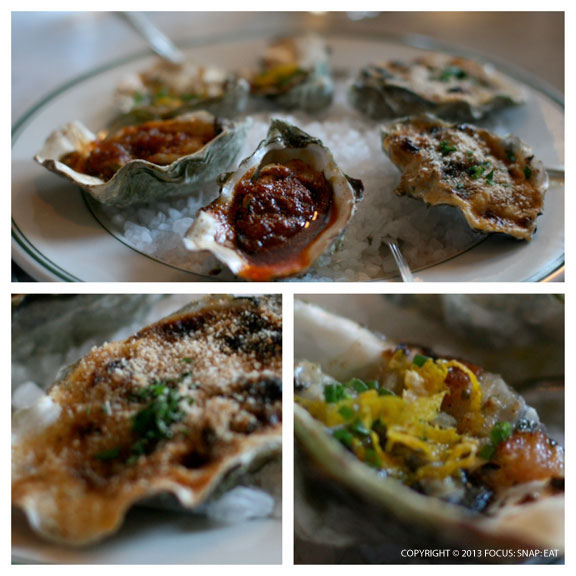 Baked oysters ($22), two of each: de maison, bottom right, (bacon, old granddad bourbon, citrus), Bienville (wild mushroom, cream, breadcrumb) and Saint Charles (drawn butter, cayenne, shallot, parsley), bottom left