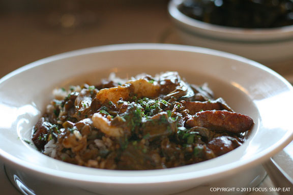 Seafood gumbo ($24) with andouille, popcorn rice