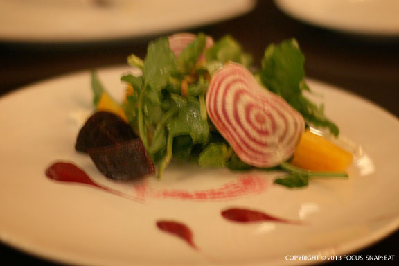 Roasted Beet Salad ($8) with watercress, goat cheese, garlic vinaigrette, pine nuts