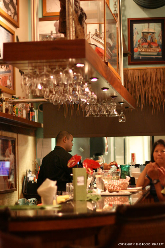 The bar at Uncle's Fish Market had a tiki bar feel.
