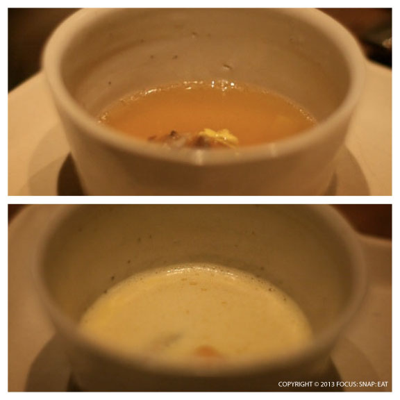 Top: Miso soup with clam, abalone, bachelor's button Bottom: Saffron chowder with mussels, potato, and carrot