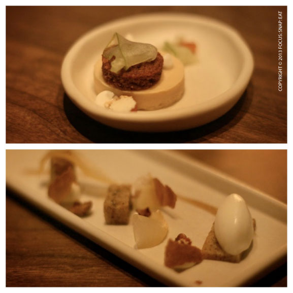 Top: Date with quince, maple, fromage blanc Bottom: Pear with walnut, honey, and cardamom