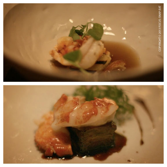 Top: Grilled Maine lobster with grilled apple, curry essence, chickweed, matsutake broth Bottom: Butter-poached Maine lobster, braised short rib, lobster mushroom, mustard greens