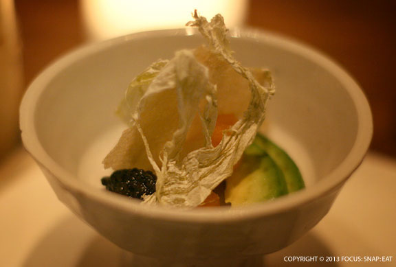 King crab with osetra caviar, avocado, kombu, feuilles de brick