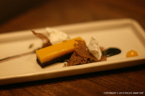 Butternut squash with dark chocolate, pumpkin seed, and ginger
