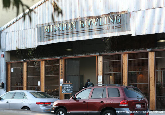 The exterior of Mission Bowling Club is almost like a warehouse.
