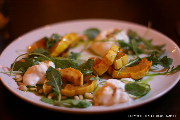 Bufala mozzarella with butternut squash and arugula, $8