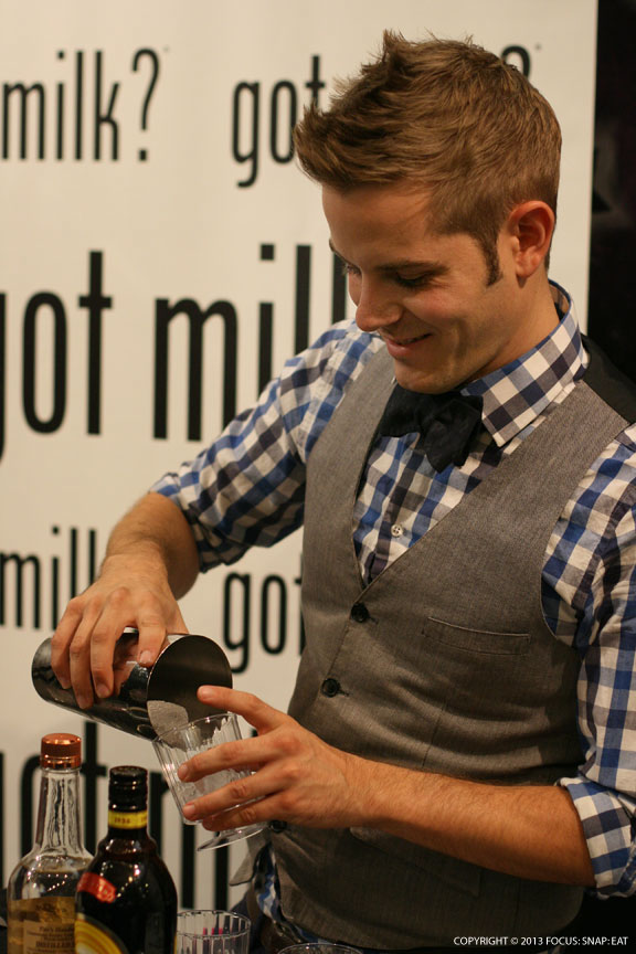 Christopher Coccagna demonstrating the milk and tea drinks he developed for the Got Milk? campaign.
