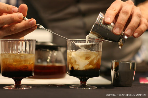 Mixing a tea version of a white Russian