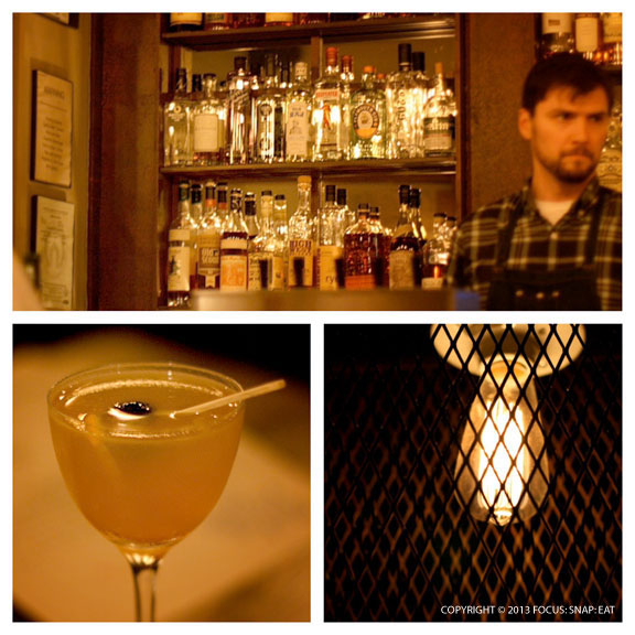 The bar takes center stage with several bourbon-based cocktails like the Bells' Sour (bottom left)